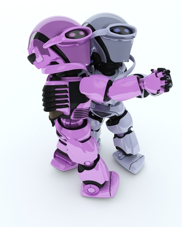 chrome man: 3D render of a Robots ballroom dancing Stock Photo