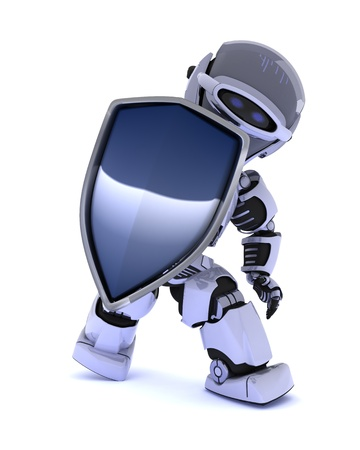 3D Render of a Robot with a shield photo