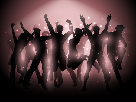 Silhouettes of people dancing on a spotlight background photo