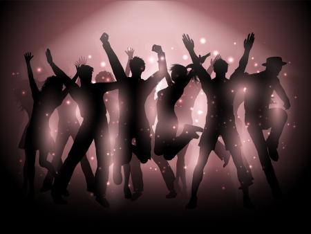 gente bailando: Siluetas de personas bailando en un fondo de foco Foto de archivo