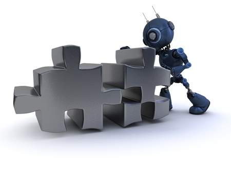3D Render of a robot with Jigsaw puzzle photo