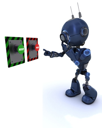 3D Render of a robot choosing which button to push photo
