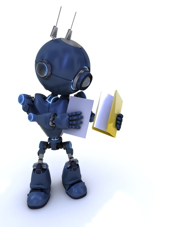 3D Render of a robot with folder and documents photo