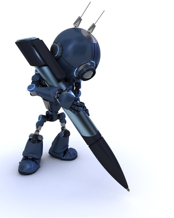 scribe: 3D Render of a robot writing with a pen