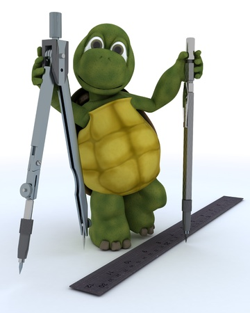 3D render of a tortoise with drawing aids photo