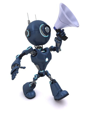 mega phone: 3D Render of a robot with a bull horn