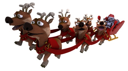 3D render of a Robot withsleigh and reindeer Stock Photo - 21592533