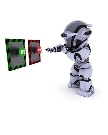 どのボタンを押せば決定するロボットの 3 D レンダリングします。 写真素材