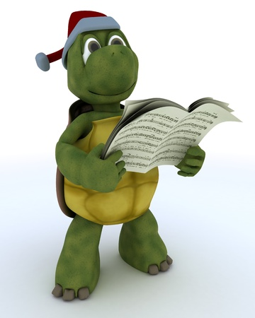 3D Render of a tortoise singing christmas carols Stock Photo - 21592546