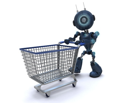 3D Render of a robot with shopping cart photo