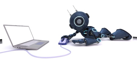 web robot: 3D Render of a robot with laptop and computer mouse