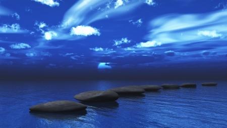 3D render of stepping stones across an ocean