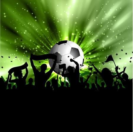 Silhouet van een voetbal menigte op een starburst achtergrond Stockfoto