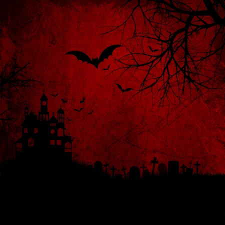 Detailed red grunge Halloween background wtih spooky bats and haunted house