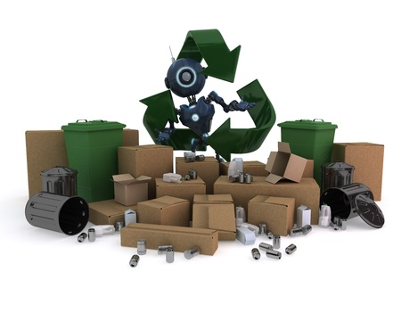 bin: 3D Render of an Android with recycling waste