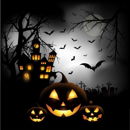 Spooky Halloween achtergrond met pompoenen op een kerkhof