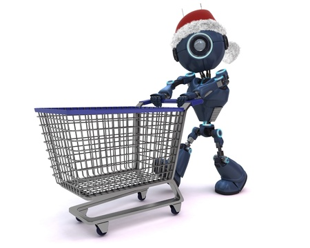 3D render of an Android Christmas Shopping photo
