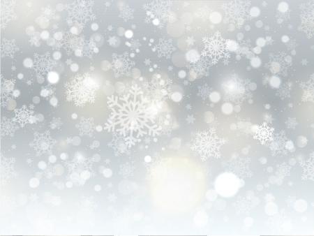 christmas snow: Christmas background of snowflakes and stars