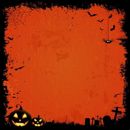 Grunge style Halloween background with pumpkins photo
