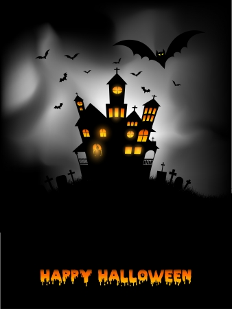 haunted house: Halloween background with spooky haunted house Stock Photo