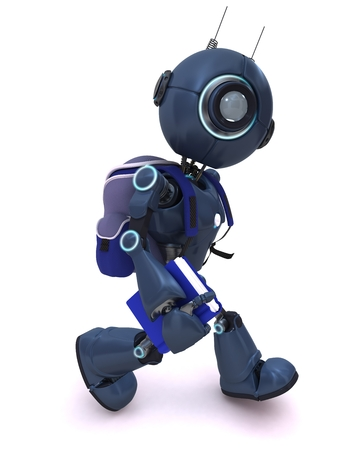 ruck sacks: 3D Render of an Android with school bag