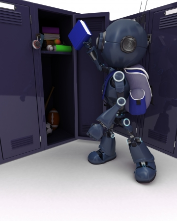 ruck sacks: 3D Render of an Android with school bag and locker Stock Photo