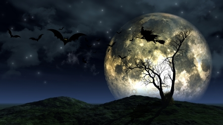 3d halloween: 3D render of a spooky Halloween background Stock Photo