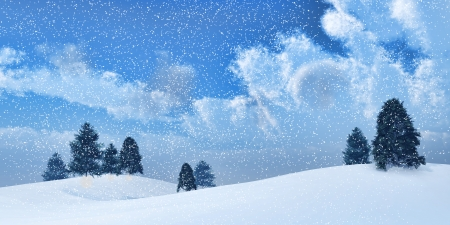 snowstorm: 3D render of a landscape of winter trees in a snowstorm Stock Photo