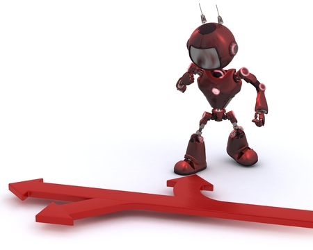 3D Render of an Android with directioins arrows photo