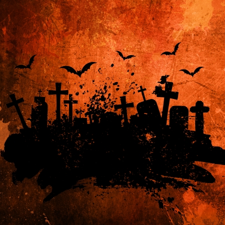 Grunge style Halloween background with splats and stains