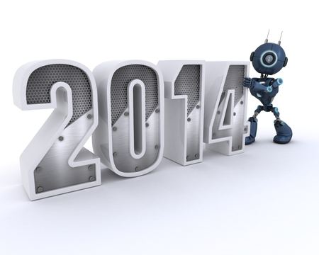 3D Render of an Android bringing in the new year photo