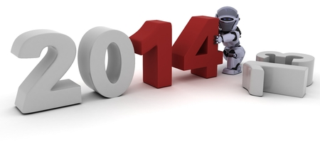 3D render of a Robot bringing in the new year photo