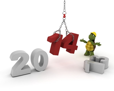 3D render of a Trtoise bringing in the new year photo