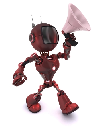 mega phone: 3D Render of a robot with Bull Horn Stock Photo