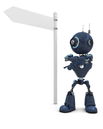3D Render of a robot with road sign  photo
