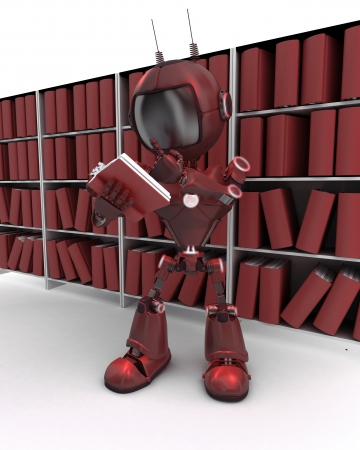 3D Render of a robot at bookshelf photo