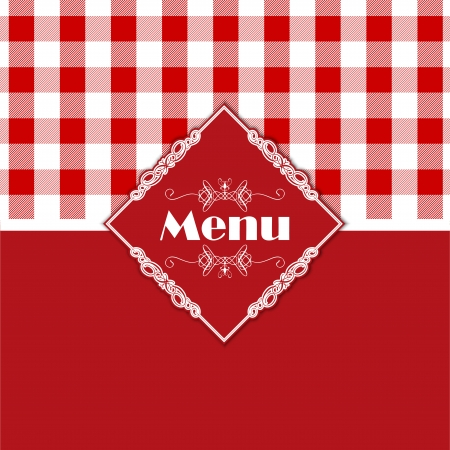 red gingham: Stylish menu design with a gingham style pattern