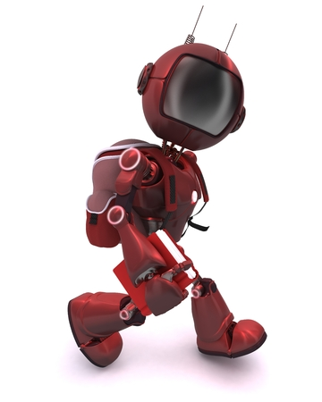 ruck sacks: 3D Render of a robot with school bag Stock Photo