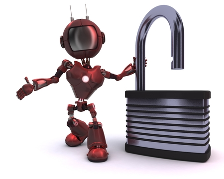 3D Render of a robot with padlock photo