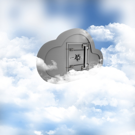filing: 3D render of a concept of online storage in the clouds Stock Photo