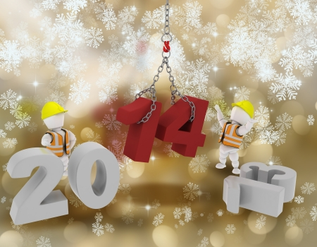 bringing: 3D render of white characters bringing the new year in Stock Photo