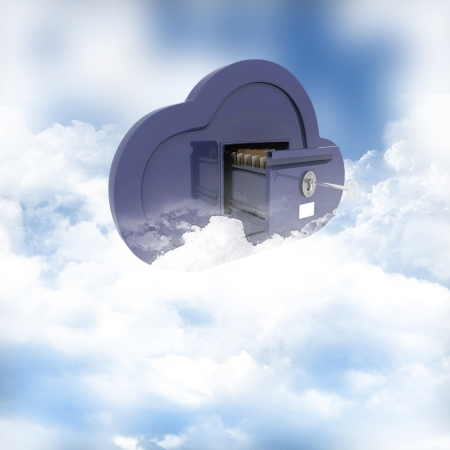 3D render of a concept of online storage in the clouds photo