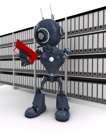 3D Render of an Android filing documents photo