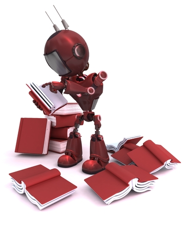 3D Render of an Android with stack of books photo