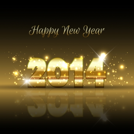 happy holidays text: Happy New Year background with a gold metallic design