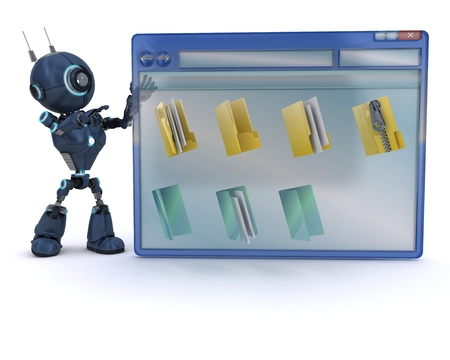 3D Render of an Android with computer window photo