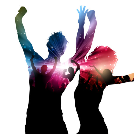 woman dancing: Party background with decorative people design Stock Photo