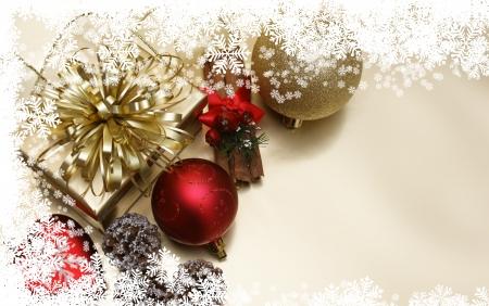 pomme de pin: Fond de Noël avec des décorations et des cadeaux