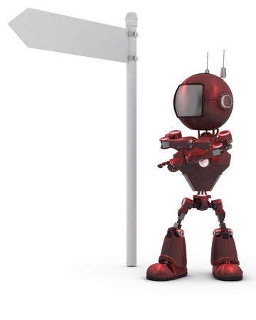 3D Render of an Android with road sign   photo