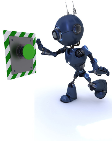 3D Render of an Android pushing a button photo